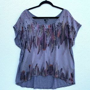 Ana Women Blouse Size XL Round Neck Cap Sleeve Asy